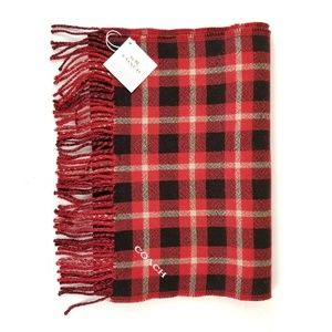 COACH Signature and Plaid Reversible Wool Scarf